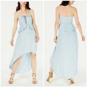 NEW Guess Lace up Peplum High Low Chambray Dress
